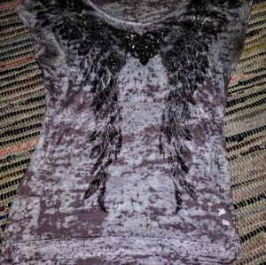 New cotton sheer brown patterned top.